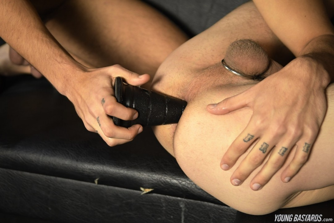 Dildo DP action for tight gay slut hole