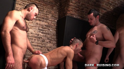 Gay slave is fucked by two masters