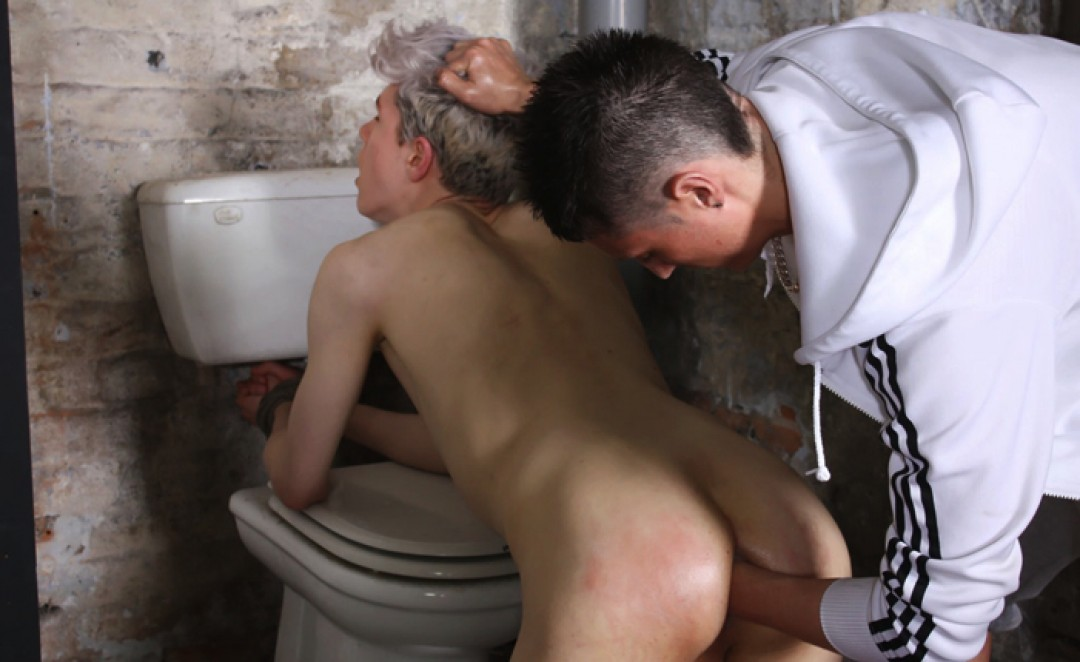 Young man bounded, used and fisted in toilets