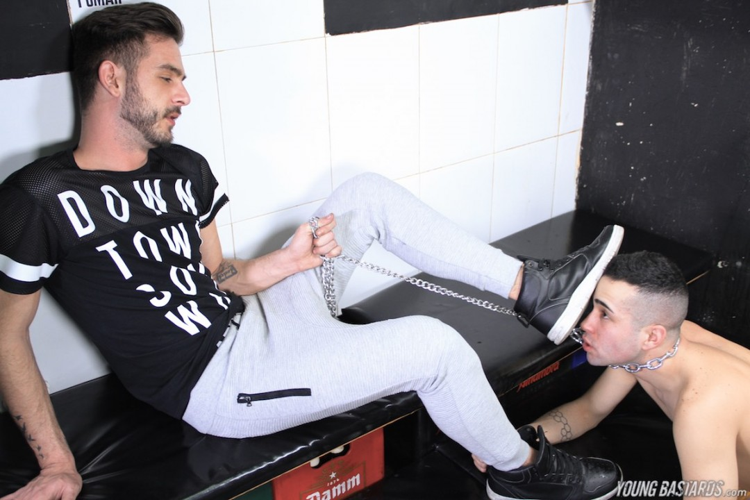 Dominant jock Abraham and his eager foot loving puppy