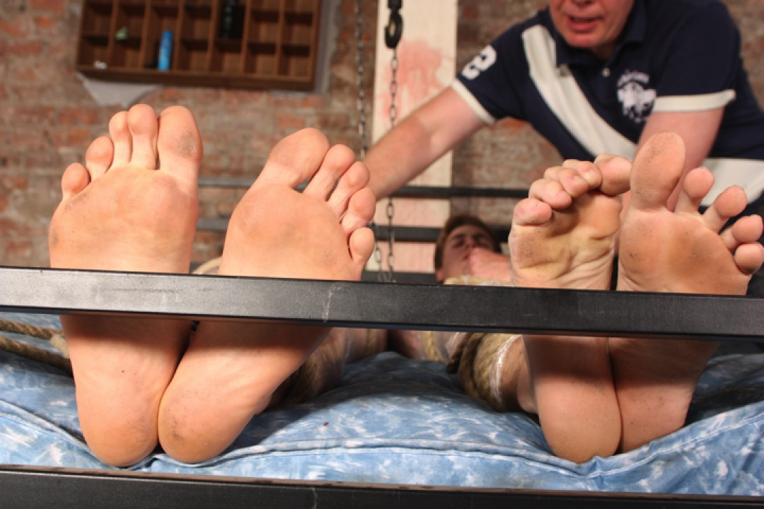 Pervert master extracts semen from captured young boys