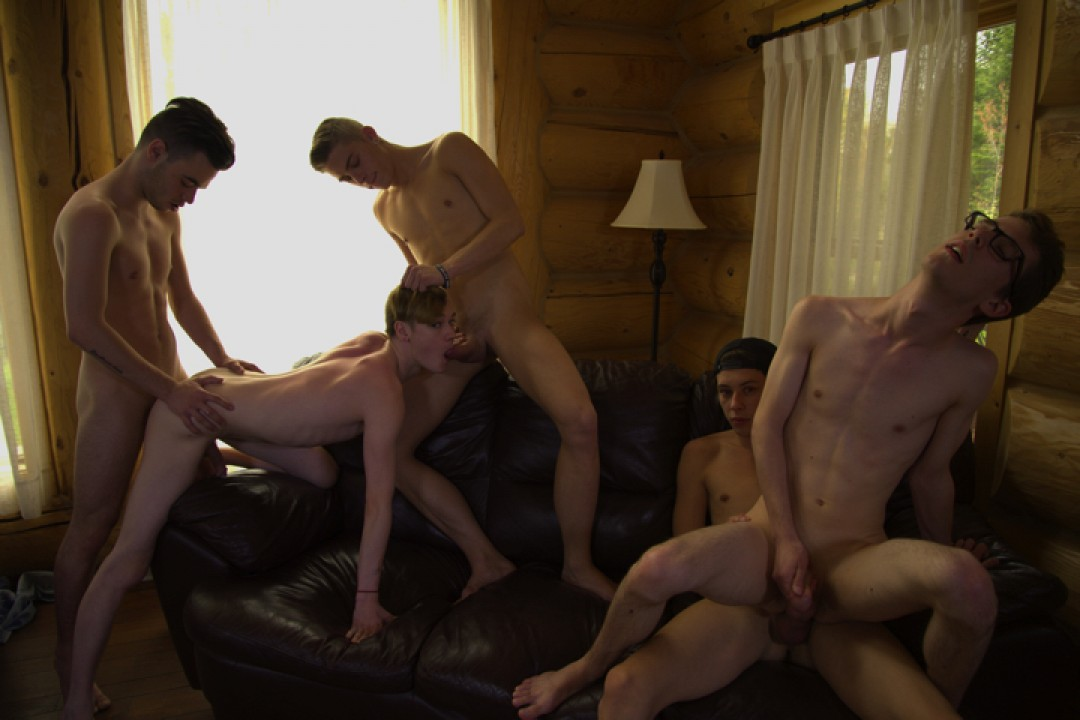 Orgy of young cock-lovers