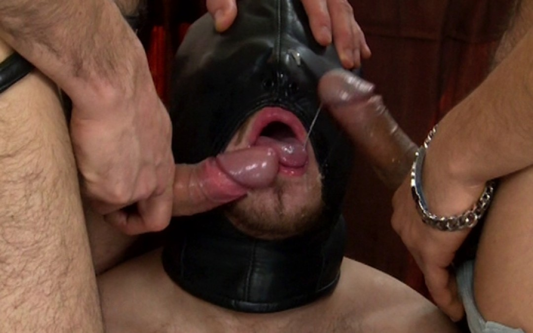 Vicious doms on hooded sub