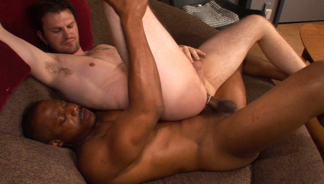 Tattooed young dude fucked by a black guy with a huge fucking dick.