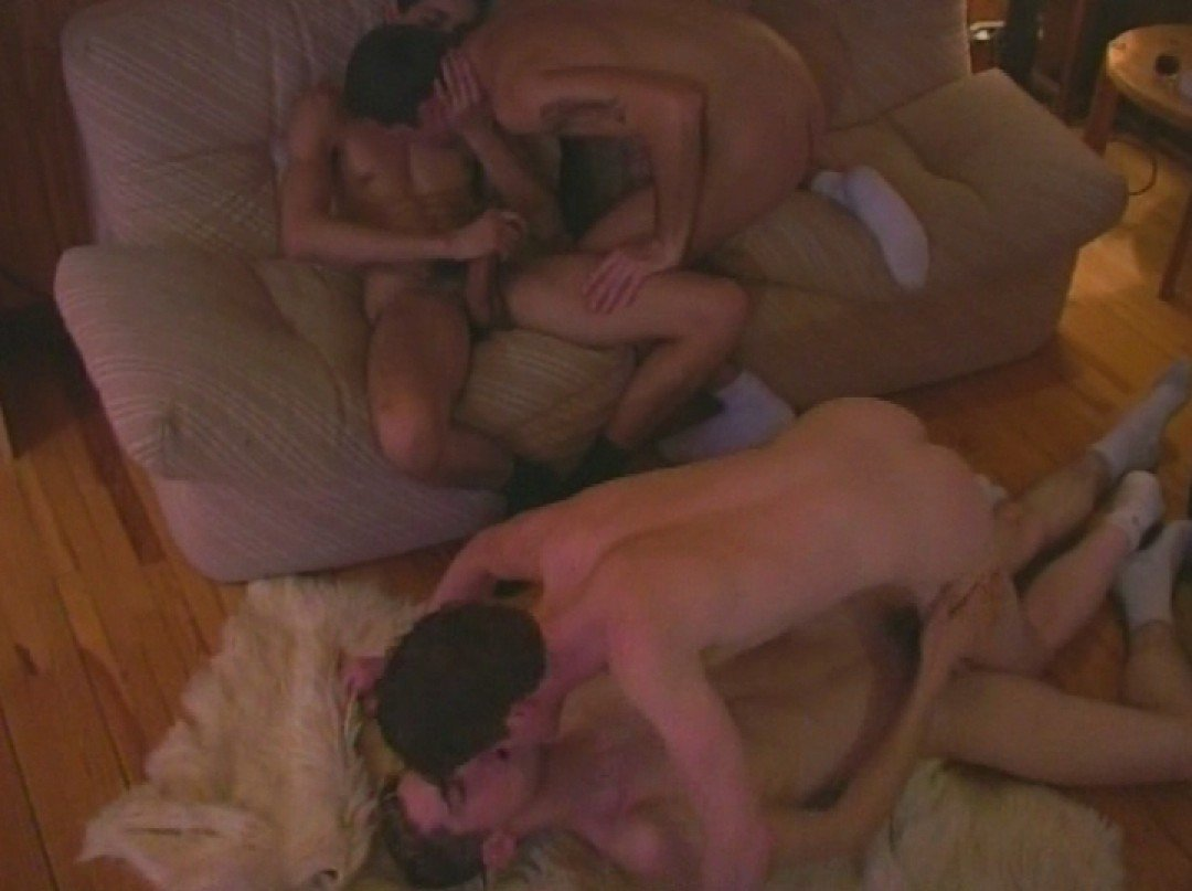 Four young dicks by the fire