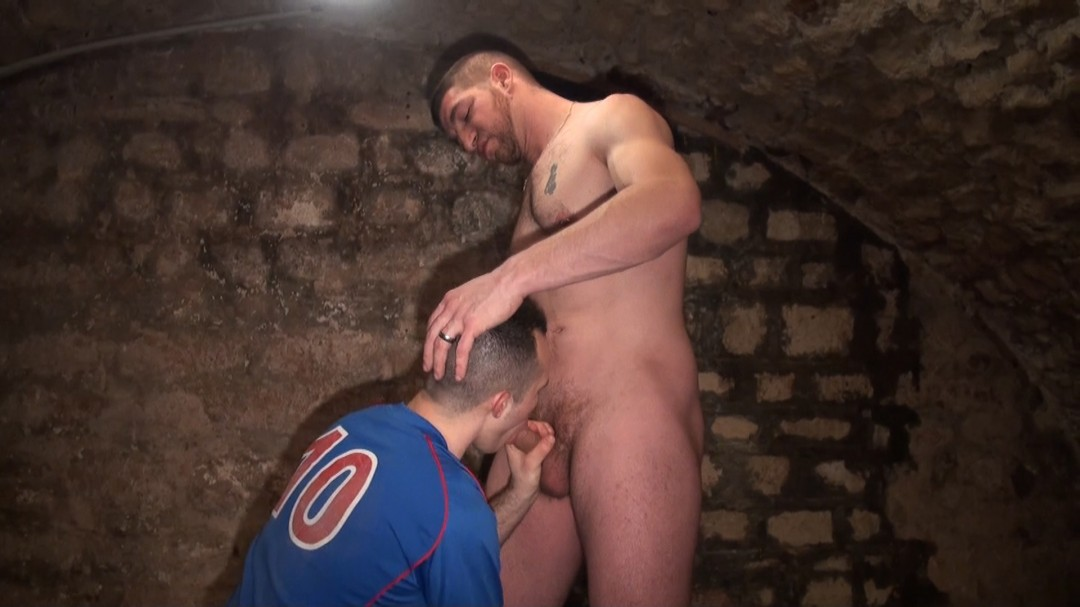 young football player suck his manager