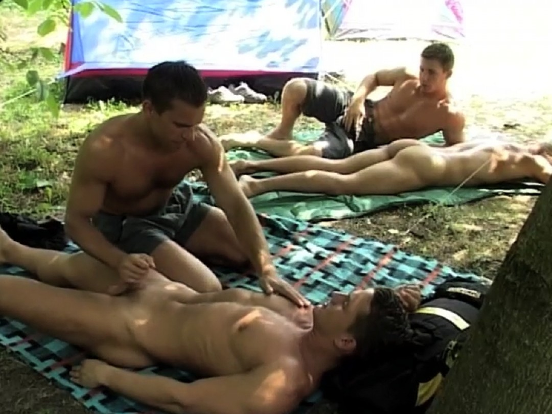 Four young studs overloaded with cum