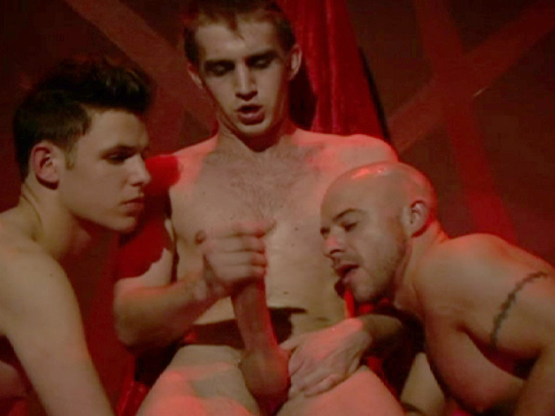 Two boys kneel down for their master