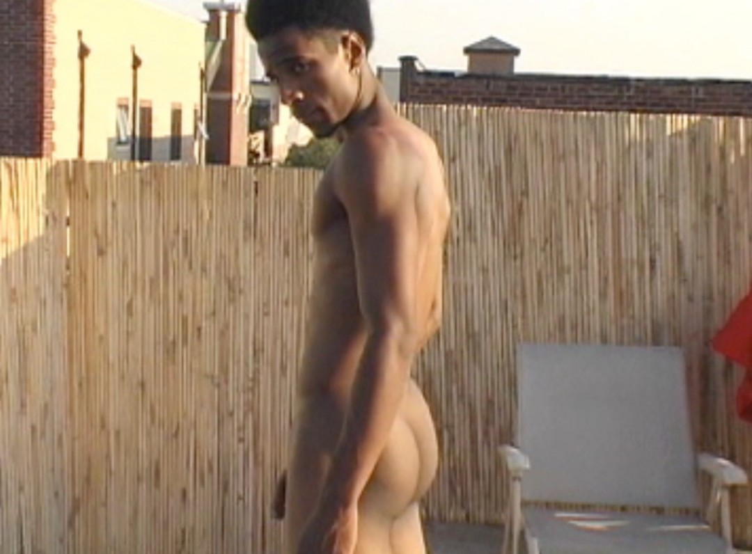 Handsome afro-man with giant dick