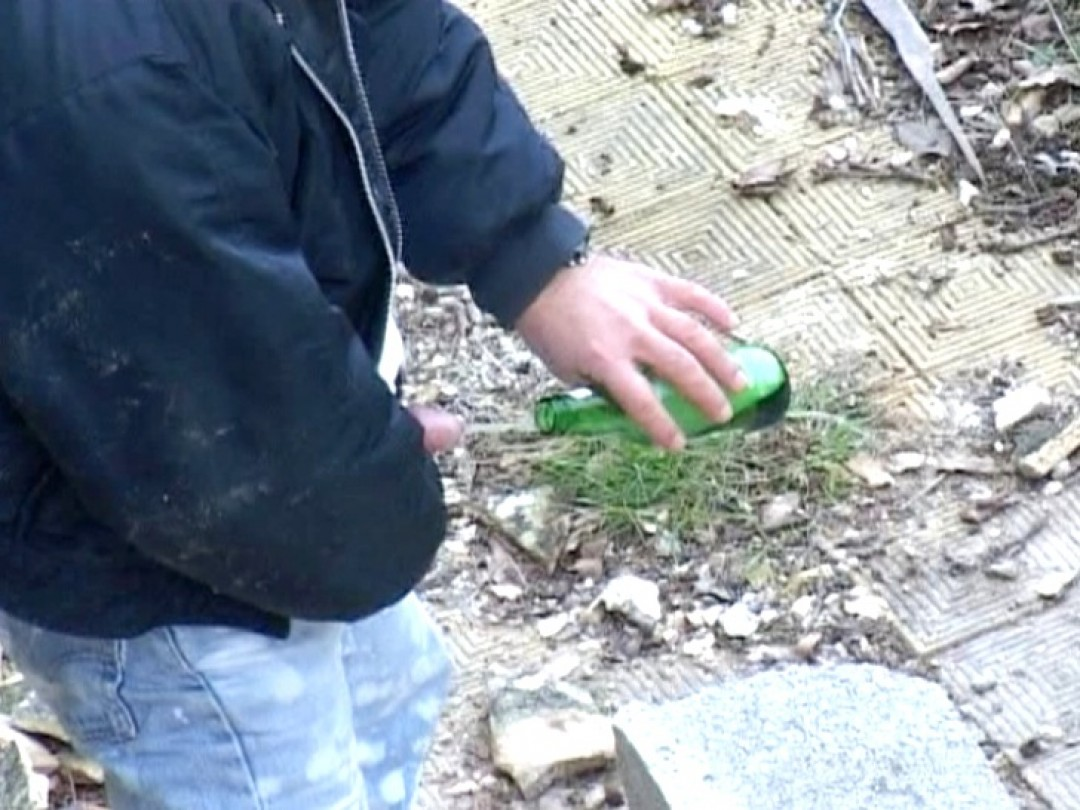 Drunk skinhead masturbates in outdoors and drinks his own piss