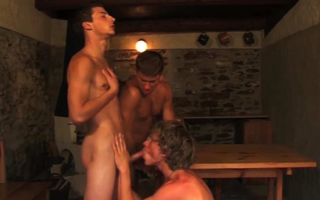 Three boys and a fountain of cum