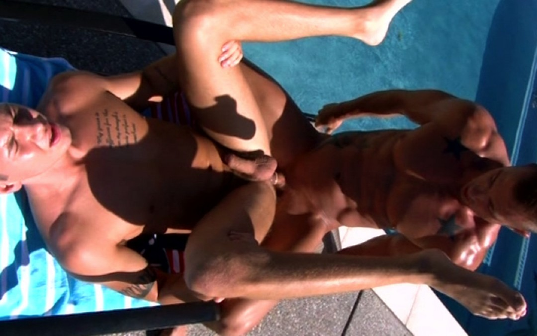 The boys fuck each other by the pool