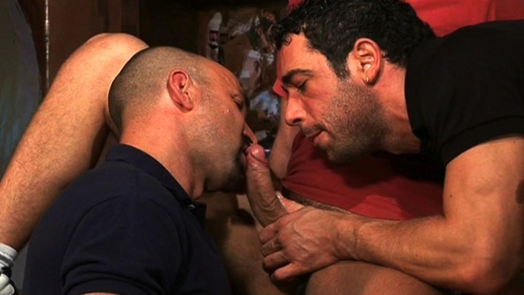 Two macho cock for sub-sucker