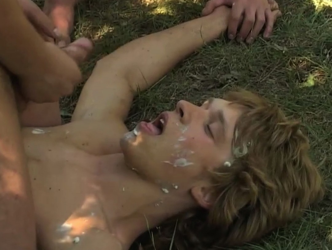 Blond boy, bukkake victim