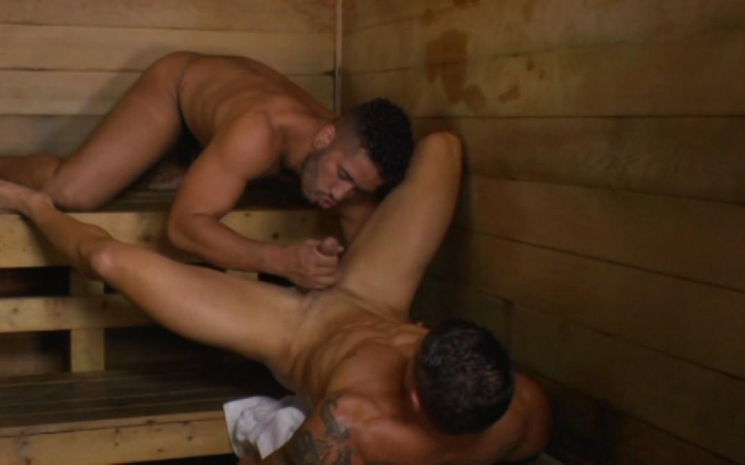 Service my Latino cock in the sauna