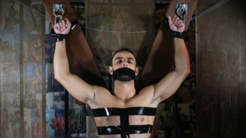 Evan Bull, a handsome gay porn star, tied and gagged