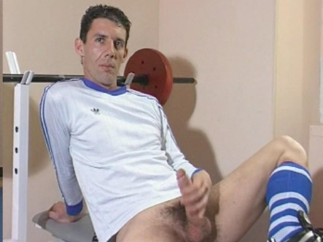 Eric rubs his dick.