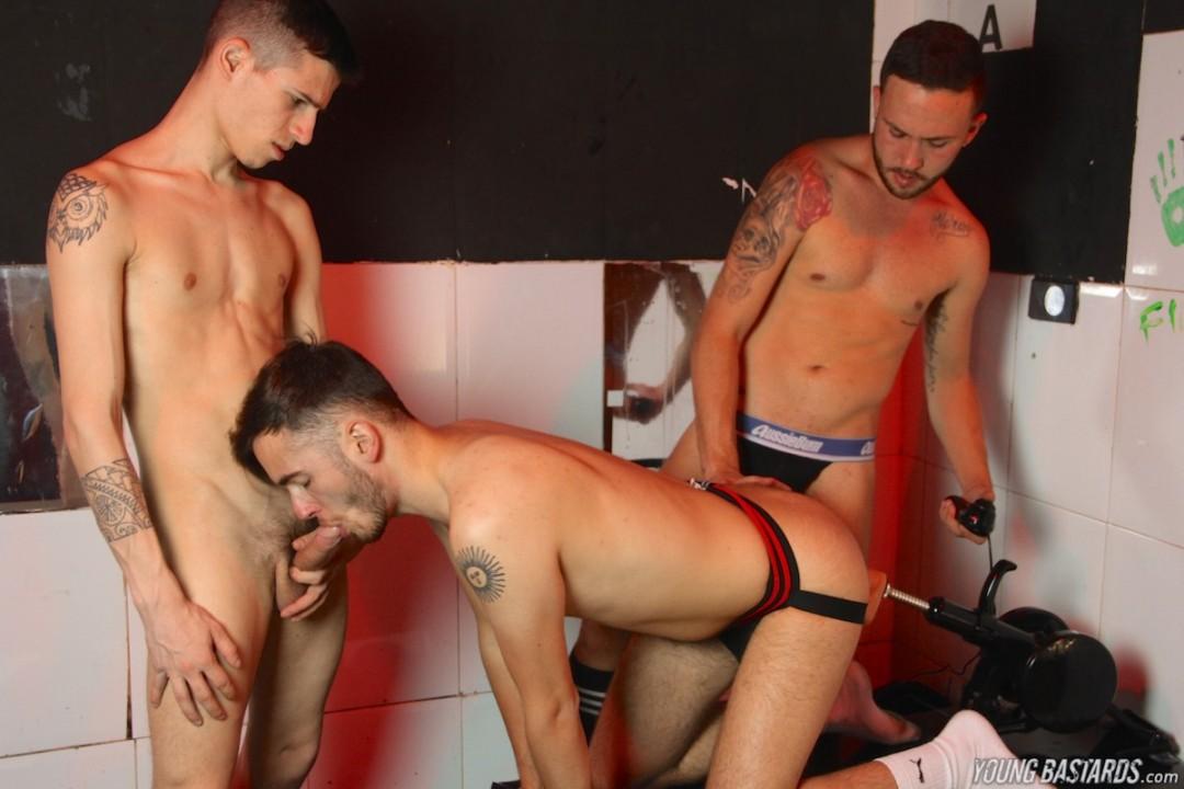 Party night butt fucking fun for three buddies