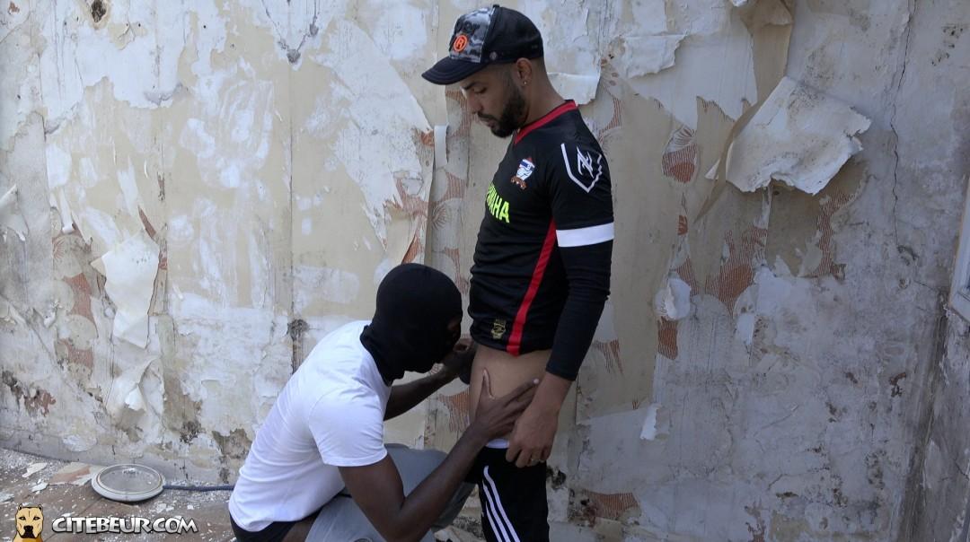 A genoux, Blackman suce la grosse queue d'un rebeu actif dans une vidéo gay gratuit