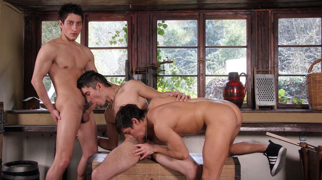 Tres jóvenes pollas una tarde