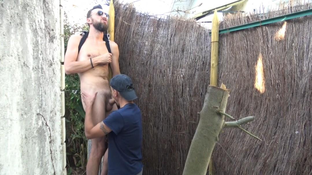 Two gay boys fuck in public