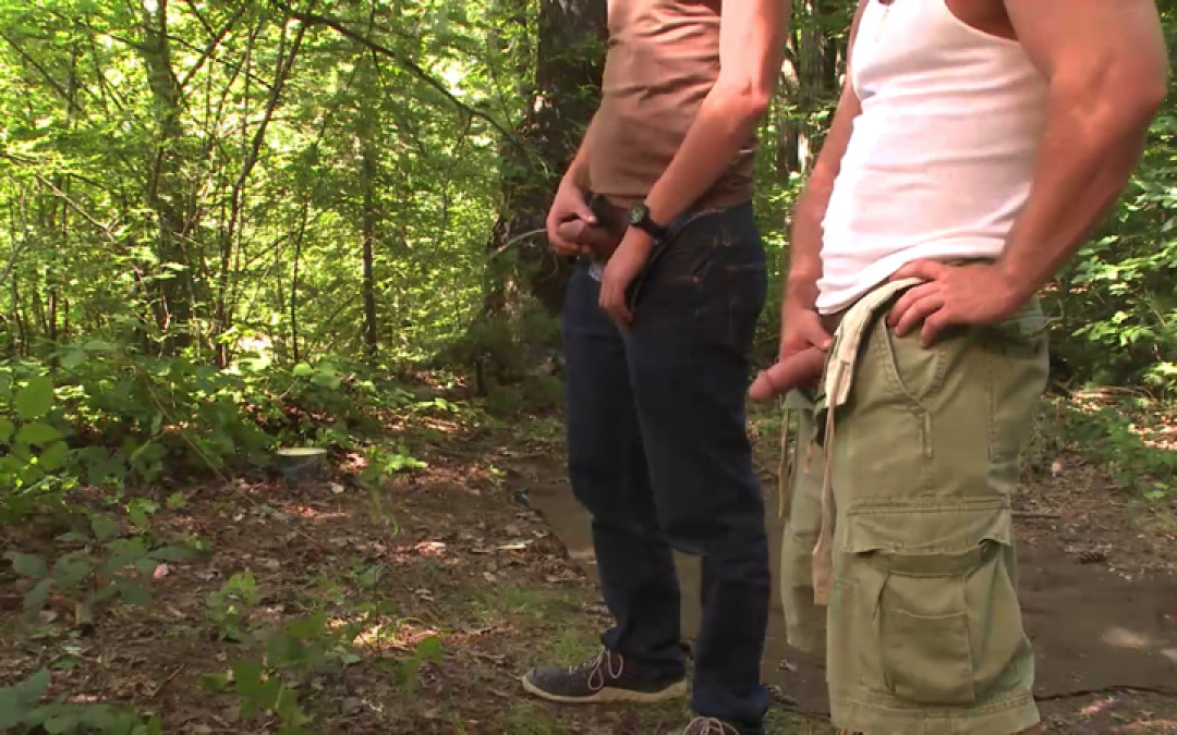 Straight guys stroking their big dicks in the woods