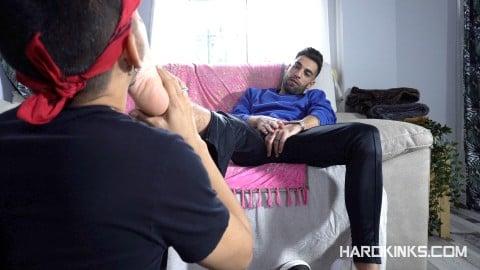 Gay slave licks arab master's stinky feets