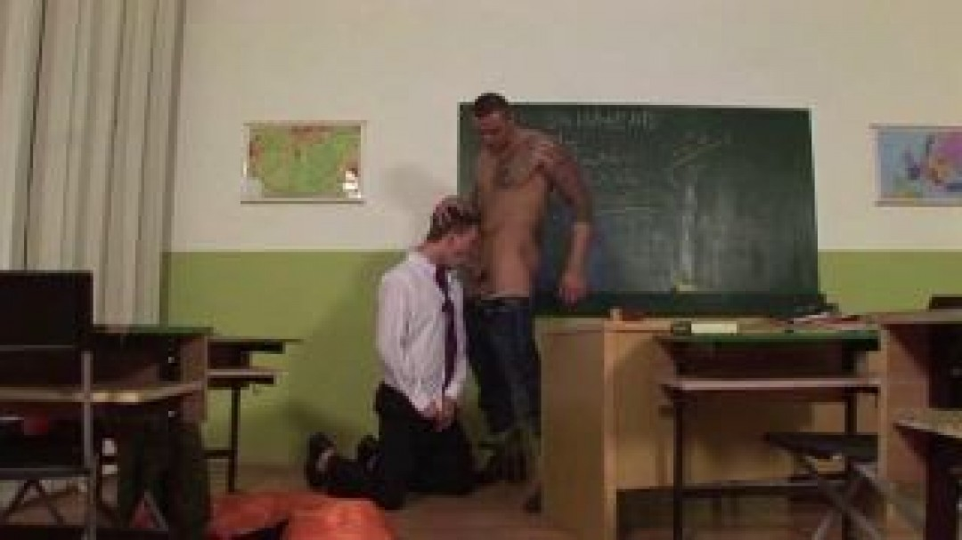 Bad boy submits to professor's cock