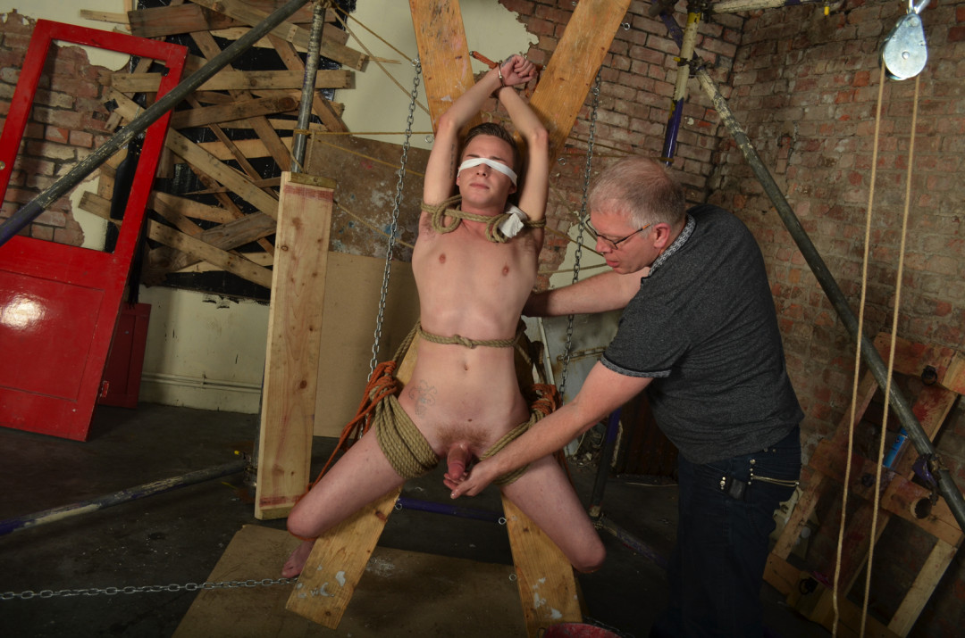 Young Twink Is Rope Bound and Punished By Older Daddy