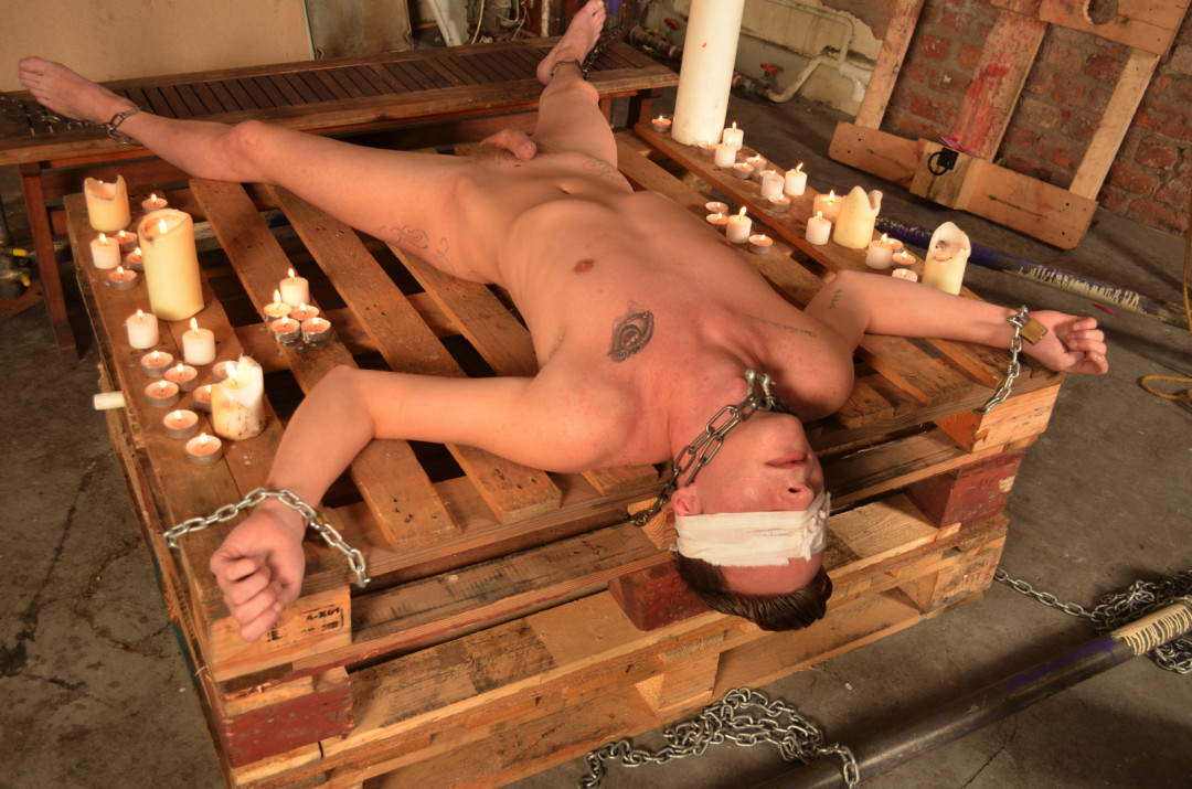 Dripping Hot Wax Is Poured Over Bound and Blind Folded Twink